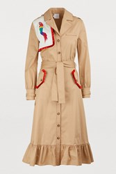 Stella Jean Cotton Coat With Parrot Embroidery Rust Light Brown