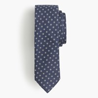 J.Crew English Silk Tie With Embroidered Flowers Authentic Navy
