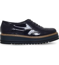 Carvela Lasting Patent Leather Flatform Brogues Navy