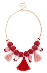 Sole Society Meeko Tassel Statement Necklace Coral