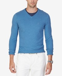 Nautica Men's V Neck Solid Sweater Blue Nile Heather