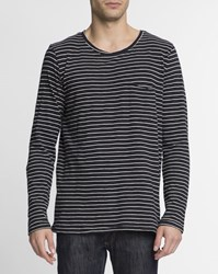 Nudie Jeans White And Black Striped Ml Organic Cotton Pocket Round Neck Orvar T Shirt
