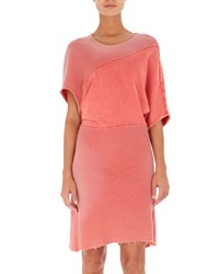Atlein Tie Dye Bias Cut Sweatshirt Dress Coral