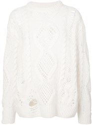 Amiri Distressed Cable Knit Sweater White