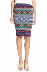 Plenty By Tracy Reese Geo Stripe Knit Pencil Skirt Fair Isle Stripe