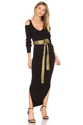 525 America Rib Cold Shoulder Maxi Dress Black