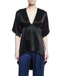 Halston Half Sleeve High Low Satin Kimono Top Black
