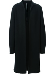 Label Under Construction Collarless Overcoat Black