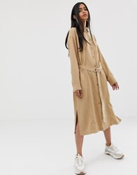 Weekday Tie Front Shirt Dress In Camel Brown