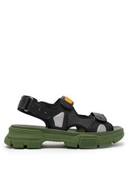Gucci Leather And Mesh Sandals Black