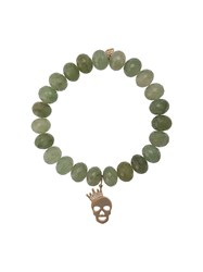 Sydney Evan Crown Skull Beaded Bracelet Green