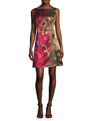 Theia Floral Print A Line Dress Pink