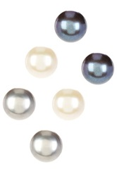 9 9.5Mm White Black And Grey Cultured Freshwater Pearl Stud Earrings Set Multi