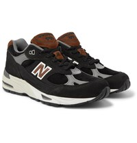New Balance M991 Suede Leather And Mesh Sneakers Black