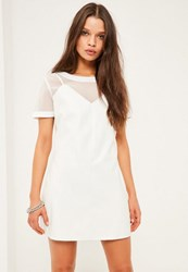 Missguided Petite Exclusive White Faux Leather Cami Overlay Dress