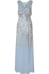 Mikael Aghal Bead Embellished Jersey Gown Blue