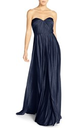 Women's Jenny Yoo 'Demi' Convertible Strapless Pleat Jersey Gown Midnight Sapphire
