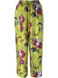 Erika Cavallini Semi Couture Floral Print Cropped Trousers Green