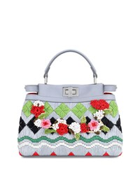 Fendi Peekaboo Small Raffia Satchel Bag Multi