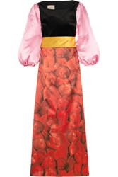 Gucci Embellished Printed Silk Satin And Velvet Gown Red