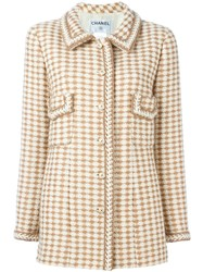 Chanel Vintage Woven Jacket Nude And Neutrals