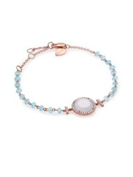 Meira T Chalcedony Mother Of Pearl Blue Topaz Diamond And 14K Rose Gold Beaded Bracelet Rose Gold Blue