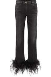 Prada Cropped Feather Trimmed Straight Leg Jeans Black