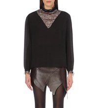 Rodarte Sequin Panel Chiffon Blouse Black