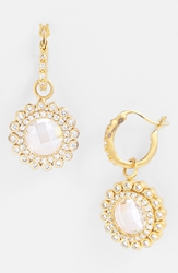 Freida Rothman 'Hamptons' Sunflower Drop Earrings Gold Clear