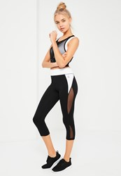 Missguided White Contrast Cropped Sports Leggings Black