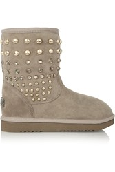 Mou Embellished Shearling Lined Suede Boots