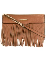 Rebecca Minkoff Removable Strap Fringed Clutch Brown