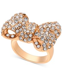 Guess Gold Tone Crystal Bow Ring