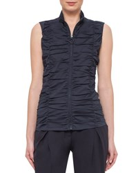 Akris Punto Sleeveless Ruched Zip Front Blouse Navy