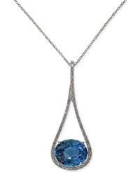 Effy Collection Effy London Blue Topaz 5 5 8 Ct. T.W. And Diamond 1 5 Ct. T.W. Pendant Necklace In 14K White Gold