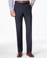 Kenneth Cole Reaction Micro Grid Slim Fit Dress Pants Blue