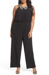 Vince Camuto Plus Size Women's Embellished Wide Leg Jersey Jumpsuit