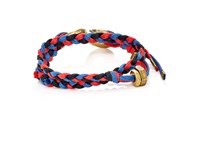 Giles And Brother Men's Braided Cord Double Wrap Bracelet Red