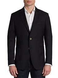 Saks Fifth Avenue Black Slim Fit Wool Two Button Blazer Black