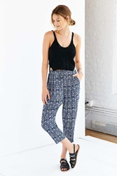 Staring At Stars Printed Cropped Trouser Pant Blue Multi