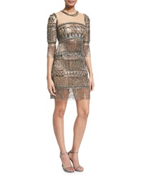 Naeem Khan 3 4 Sleeve Embroidered Fringe Cocktail Dress Gunmetal Grey Size 0