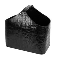 Amara Black Croc Leather Magazine Basket