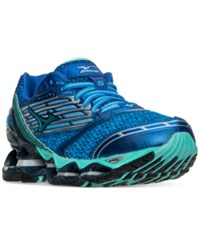 Mizuno Women's Wave Prophecy 5 Running Sneakers From Finish Line Diva Blue Electric Green