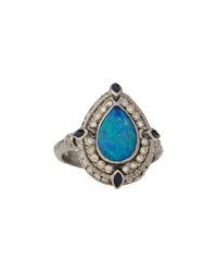 Armenta Diamond Outlined Opal Pear Ring Size 6.5