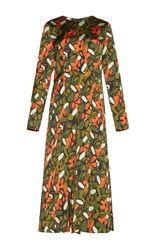 Goen.J Long Sleeve Floral Dress Orange
