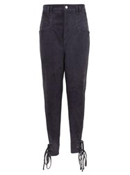 Isabel Marant Adeloisa Panelled Ankle Tie Suede Trousers Navy
