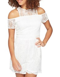 Miss Selfridge Lace Cold Shoulder Romper White