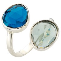 John Lewis Gemstones Double Semi Precious Stone Ring Blue Topaz Green Quartz