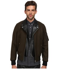 The Kooples Authentic Woolen Leather Layered Bomber Military Black Men's Coat Olive