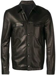 Salvatore Santoro Button Up Leather Jacket Black